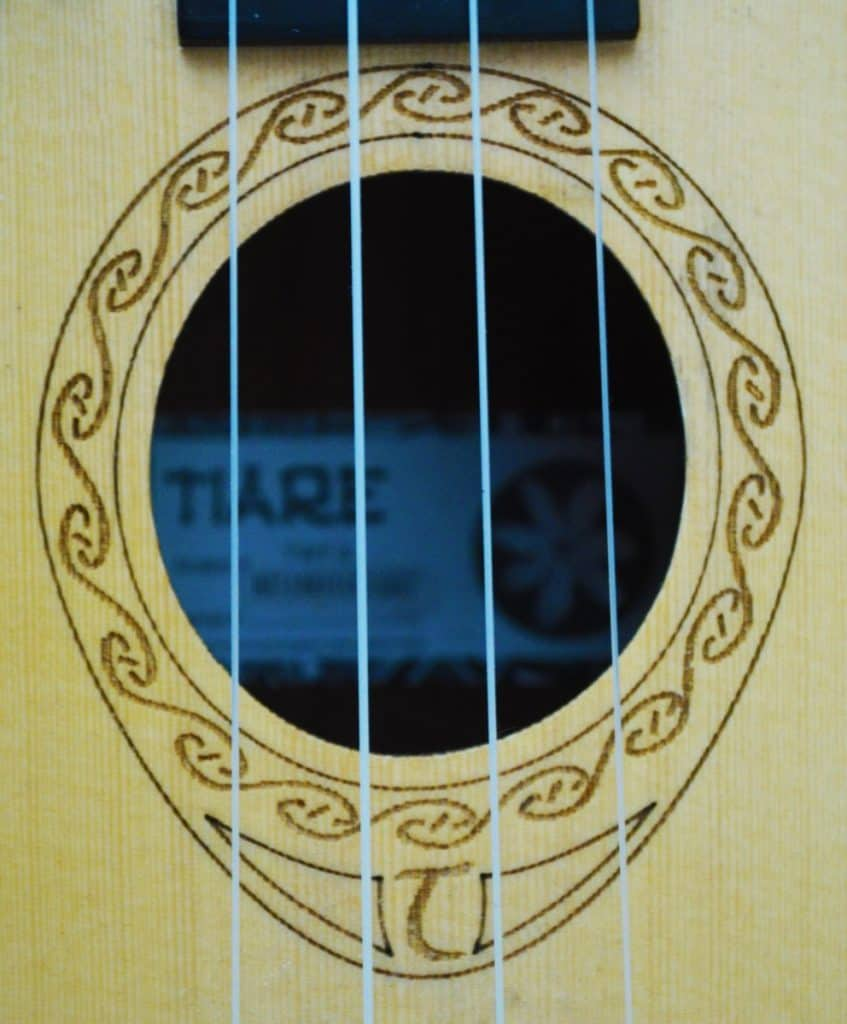 soundhole and rossette of tanglewood tiare concert ukulele